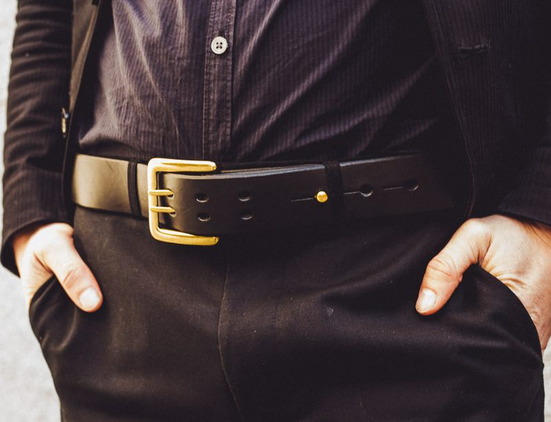 MILITARY BELT w BRASS HARDWARE